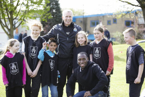 Hat-Trick working at the Byker Community Trust with Toon boss Alan Pardew
